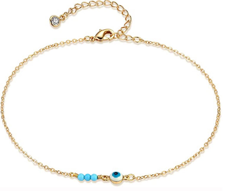 Chrissi Bohemian Blue Evil Eye Anklet ~ Beach Ankle Bracelet