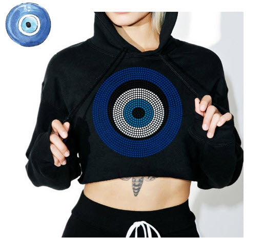 Evil eye rhinestone iron on transfer design