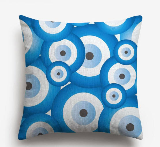 Multi Evil Eye Watercolor Pillow (Blue)