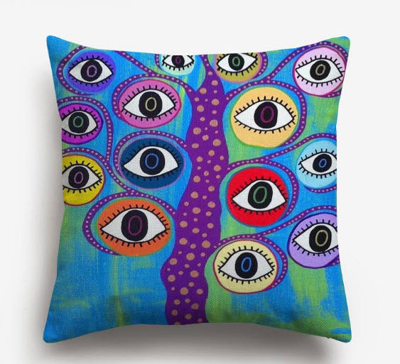 Multi-Colored Evil Eye Watercolor Pillow (Brights)