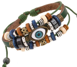 Eranthis Retro Beaded Leather Evil Eye Bracelet