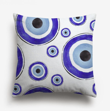 Multi Evil Eye Watercolor Pillow