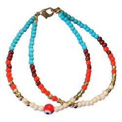 Zaiki Red Beaded Evil Eye Bracelet