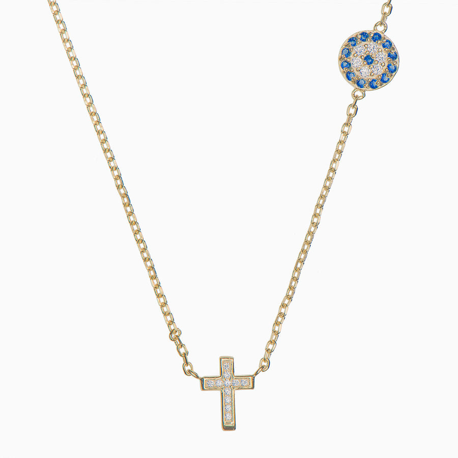 Cleo Sterling Silver Cross Necklace - Evil Eye Collective