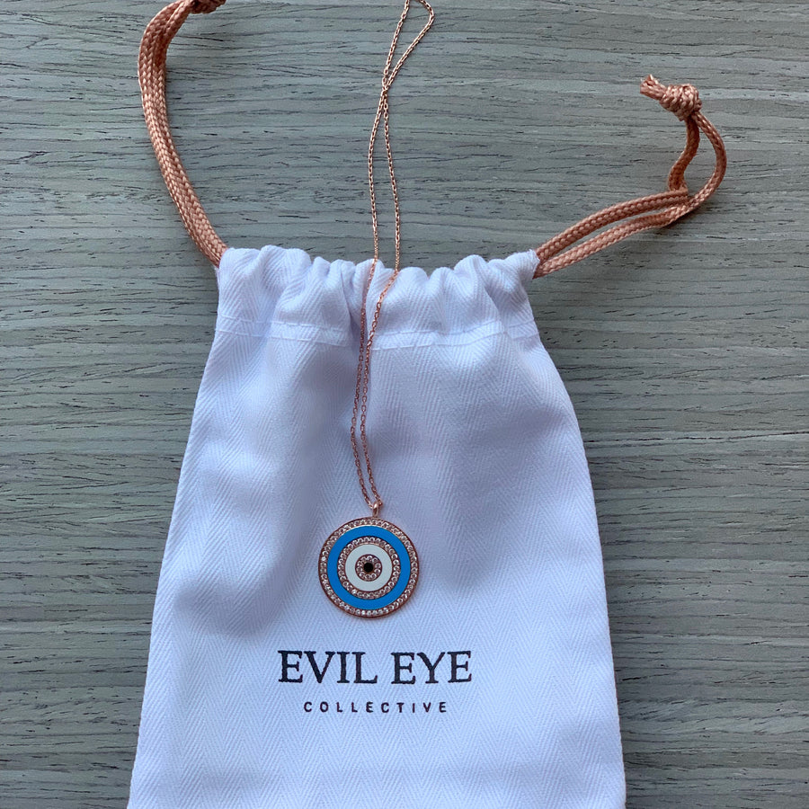Atoosa Blue Enamel Necklace - Evil Eye Collective
