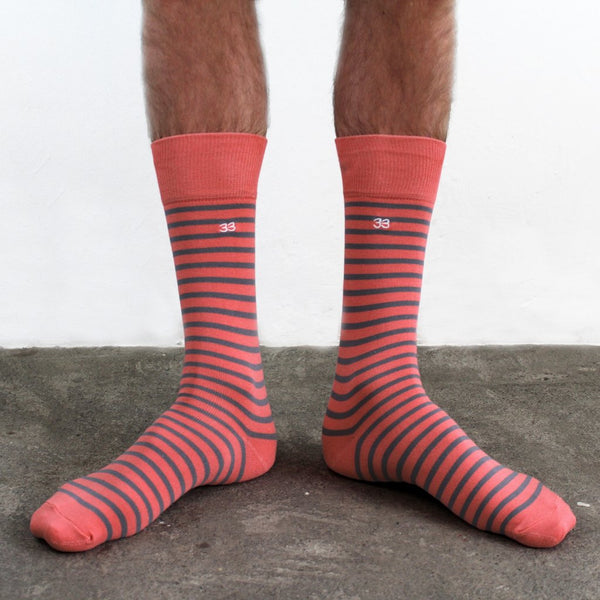 Calcetines Stripe Coral/Gris