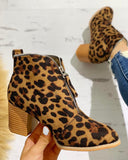 Believe Zipper Design Chunky Heeled Ankle Boot