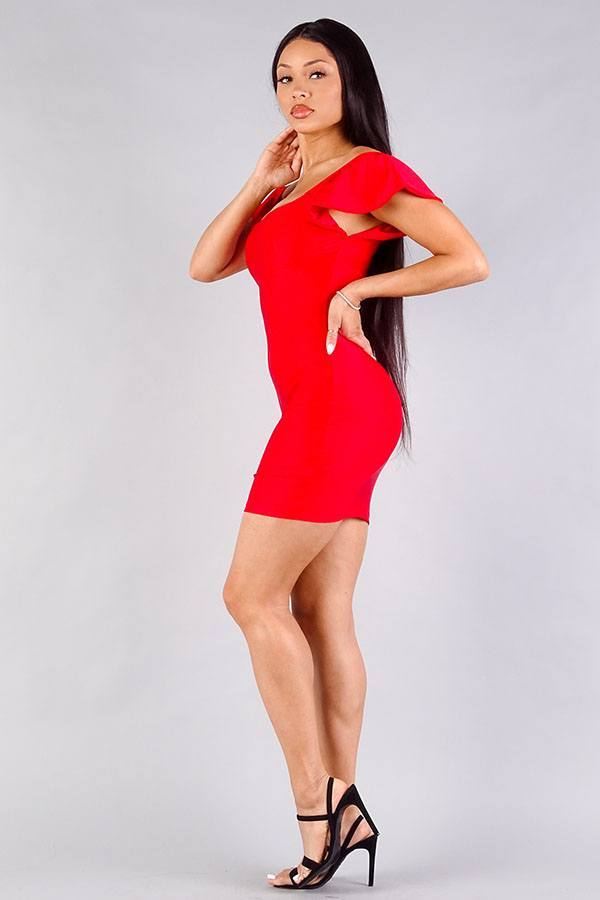 Love Yourself Off Shoulder Bodycon Mini Dress