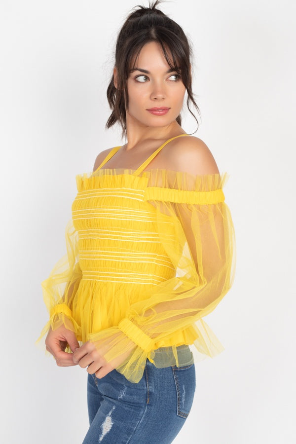 Expresso Mesh Open Shoulder Top