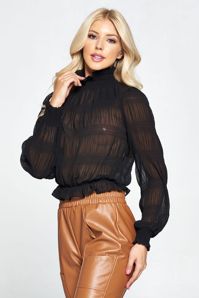 Bad And Boujie Chiffon Mock Neck Blouse
