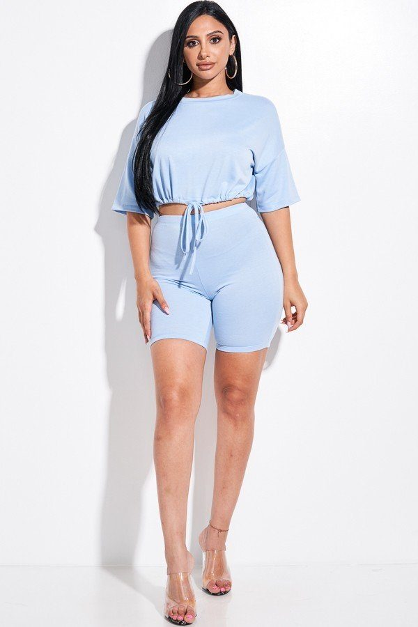 Forever Fabulous Short Sleeve Top And Biker Shorts 2 Piece Set