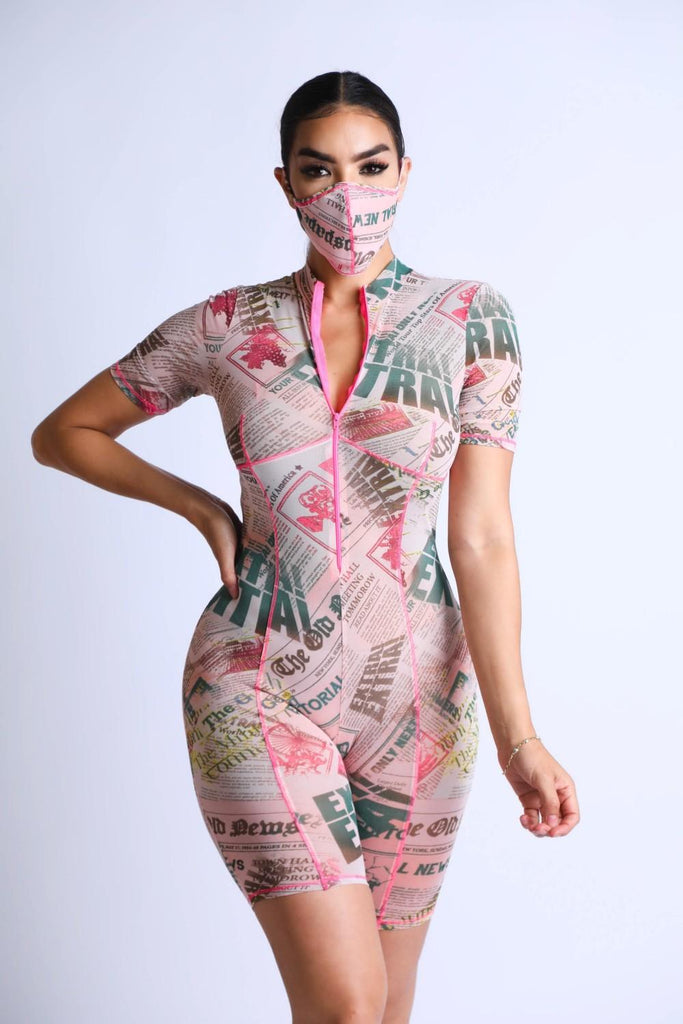 Diva Printed Mesh Romper With Mask