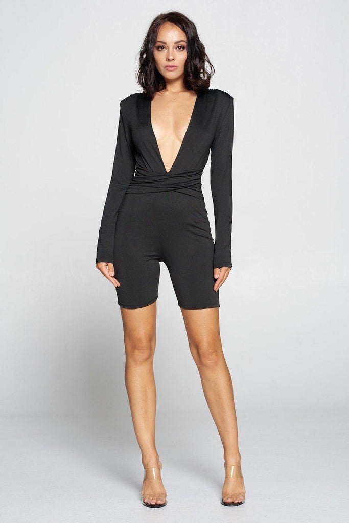 Dare To Sparkle Deep V Neck Jumpsuit