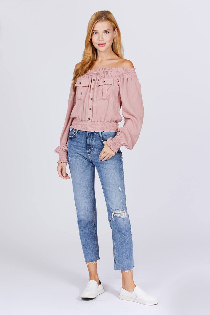Make Me Pocketed Off Shoulder Top