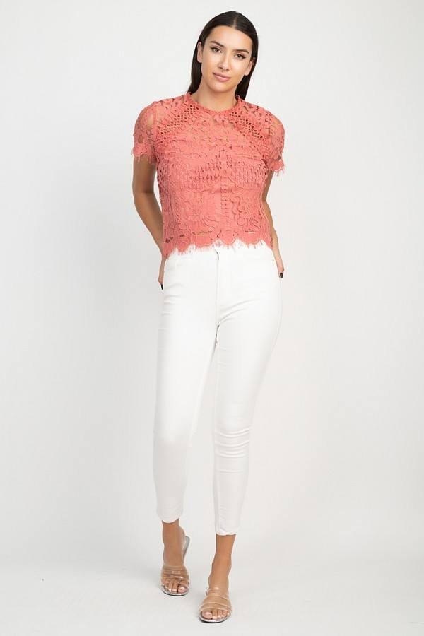 Love Me Again Sheer Floral Lace Top