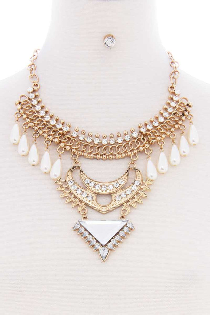Very Stylish Pearl Bohemian Chunky Necklace Earring Set
