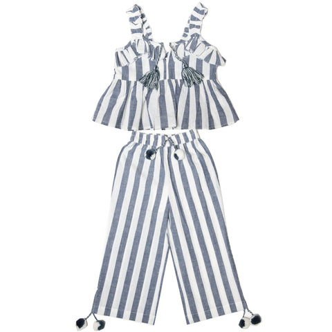 America and Beyond - Pom Stripe Ruffle Tank Top and Pants Set
