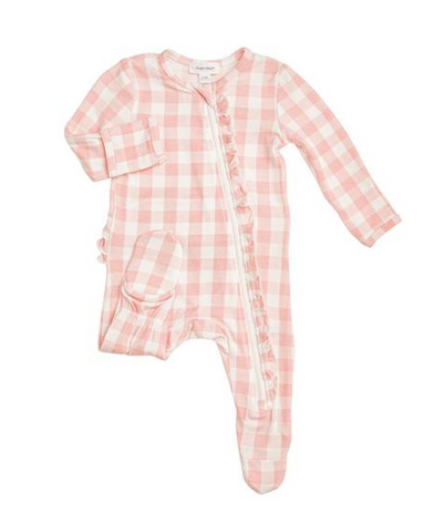 Angel Dear Gingham Ruffle Zip Footie