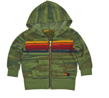 Aviator Nation Camo 5 Stripe Zip Up Hoodie
