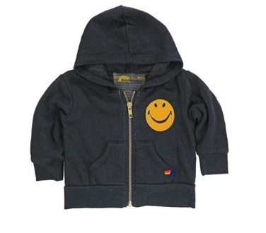 Aviator Nation Smiley Face Zip Up Hoodie