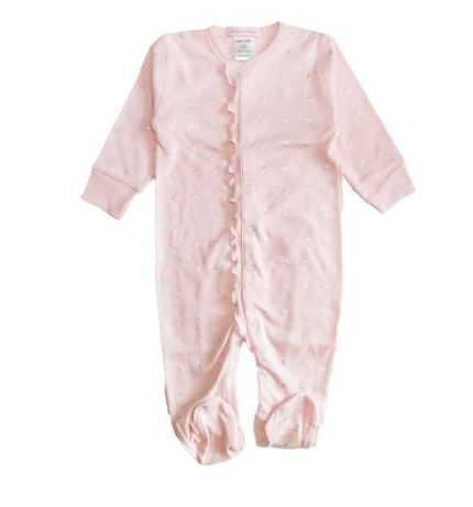 Baby Steps Metallic XO Ruffle Footie
