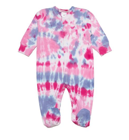 Baby Steps Raspberry Tie Dye Footie