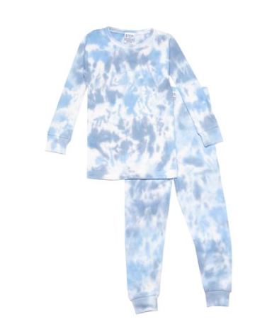 Baby Steps Cloud Tie Dye Thermal Two Piece Pajamas