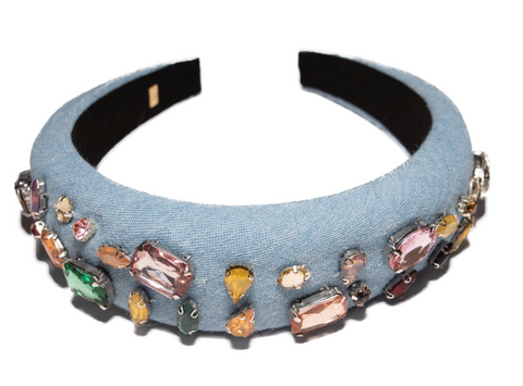 Bari Lynn Crystalized Jewel Denim Headband