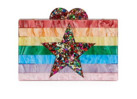 Bari Lynn Rainbow Star Box Clutch W/ Cross Body Chain