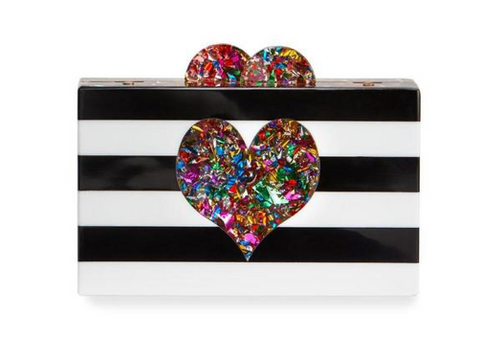 Bari Lynn Stripe Heart Box Clutch W/ Crossbody Chain
