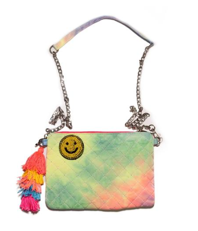 Bari Lynn Tie Dye Happy Face Pin Cross Body Bag