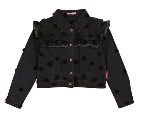 Billieblush Denim Polka Dot Pom Pom Jacket (Preorder)