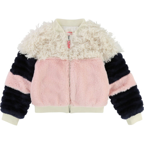 Billieblush - Faux Fur Color Block Jacket