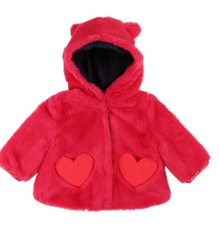 Billieblush Hooded Faux Fur Jacket W/ Heart Pockets (Preorder)