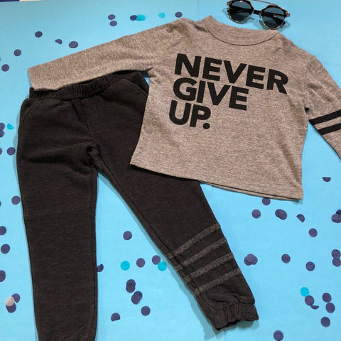 Chaser - Never Give Up Long Sleeve Tshirt and Sofy & Cozy Sweatpants with Ankle Stripes