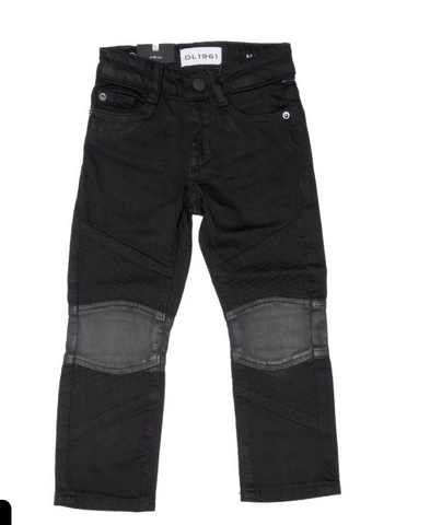 DL 1961 - Hawke Biker Faux Leather Patch Jeans