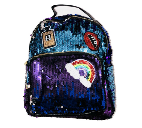 Doe A Dear - Ombre Sequin Mini Backpack with Patches