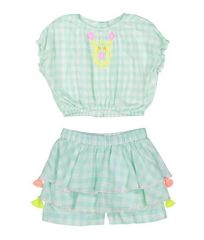 Everbloom Embroidered Neon Top and Shorts Set