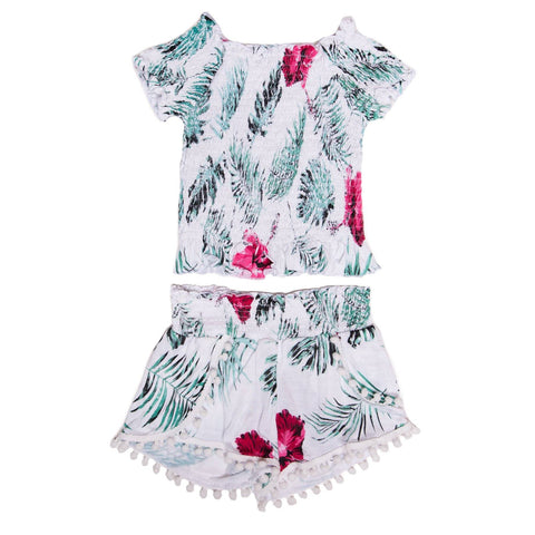 Flowers By Zoe - Hawaiian Off Shoulder Top And Pom Pom Shorts Set
