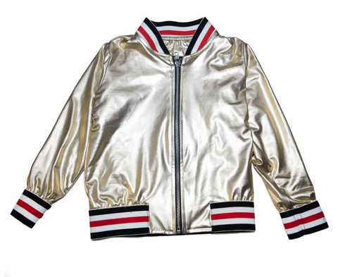 Flowers By Zoe - Metallic Pleather Gucci Inspired Jacket