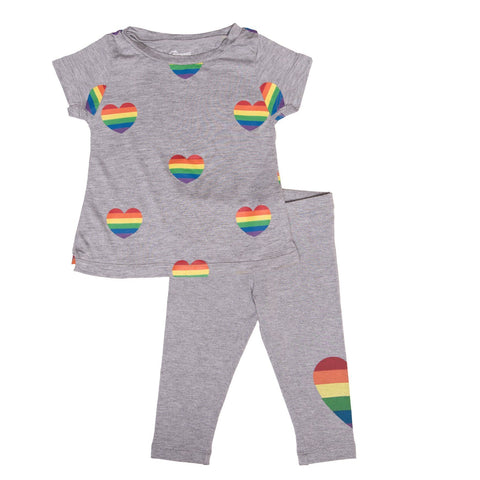 Flowers By Zoe - Rainbow Hearts Tshirt and Leggings Set