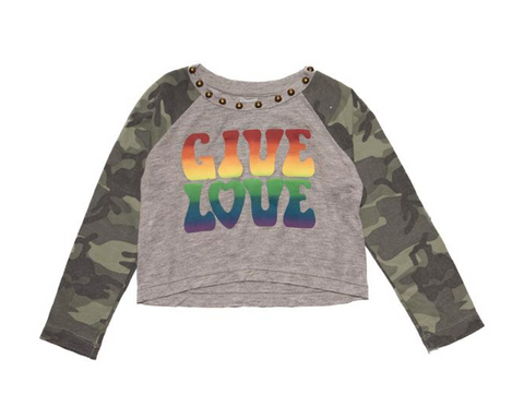 Flowers By Zoe Rainbow Love Camo Long Sleeve Tshirt