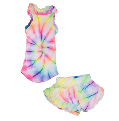 Flowers By Zoe Tie Dye Tank Top And Ruffle Shorts Set