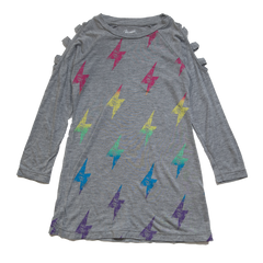 Flowers by Zoe -  Rainbow Lightening Bolt Long Sleeve Dress
