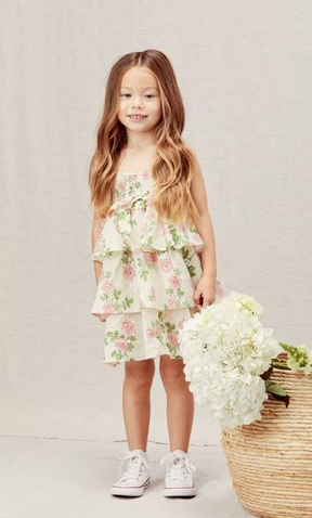 For Love and Lemons Rosewater Ruffle Tiered Dress