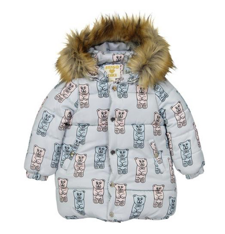 Hugo Loves Tiki - Gummy Bears Fur Hooded Puffer Coat