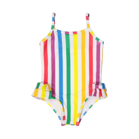 Hugo Loves Tiki Rainbow Stripe One Piece Swimsuit