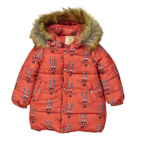 Hugo Loves Tiki - Red Bunny Fur Hooded Puffer Coat