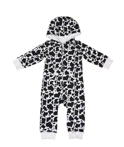 Ice Cream Castles Cow Print Zip Up Hooded Romper (Preorder)