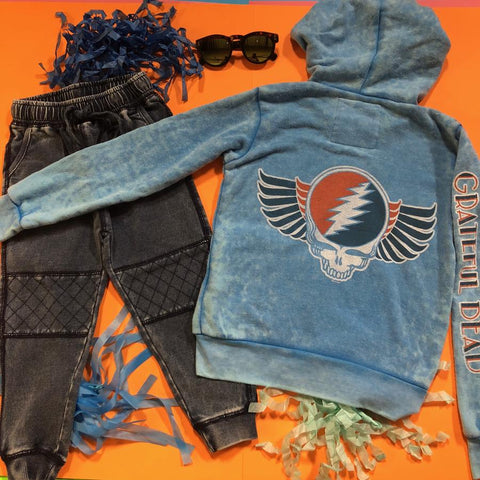 Kapital K - Snow Washed Biker Sweatpants &  Rowdy Sprout - Grateful Dead Burnout Zip Up Hoodie
